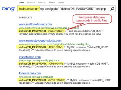 Bing Hacking. Using Bing to find vulnerabilities via the instreamset:URL: search operator.