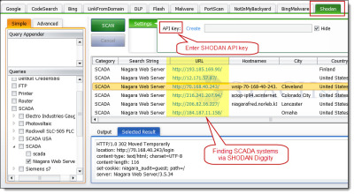 Shodan Diggity, part of the SearchDiggity attack tool by Bishop Fox. Comes preloaded with the Shodan Hacking Database (SHDB)