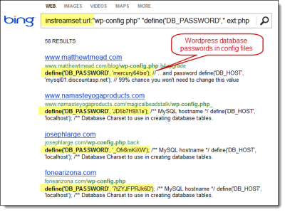 Bing Hacking. Using Bing to find vulnerabilities via the instreamset:URL: search operator.