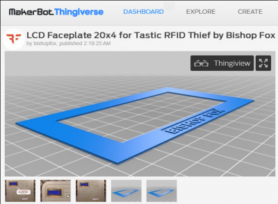 Thingiverse.com - LCD Faceplate 20x4 for Tastic RFID Thief by Bishop Fox