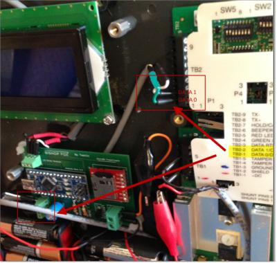 Tastic RFID Thief - Wiegand Data0/Data1 - Green/White Input Taken from Reader