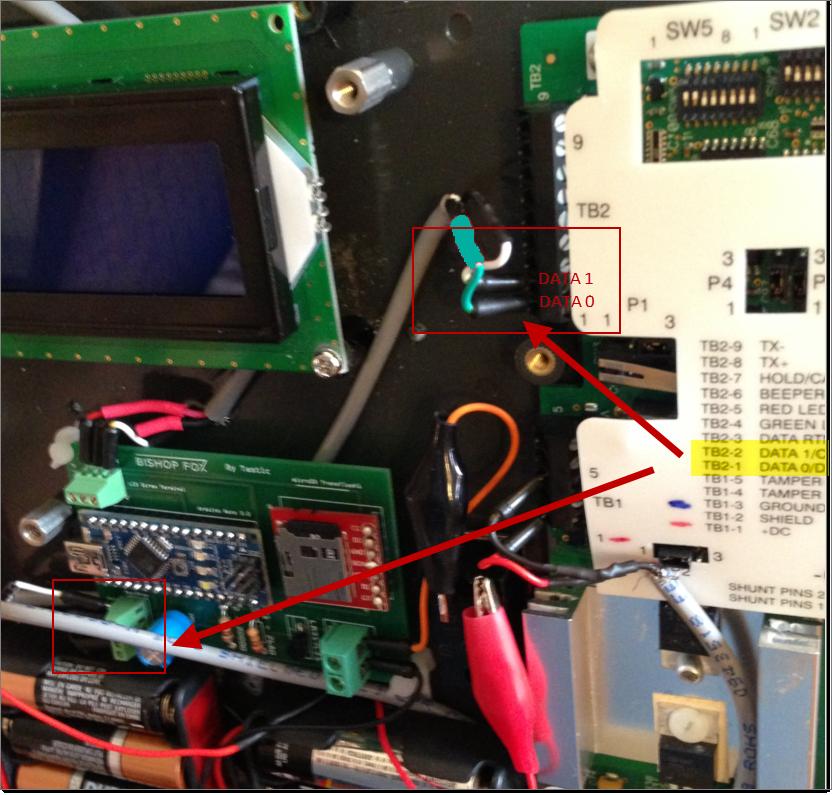 Tastic RFID Thief - Wiegand Data0/Data1 - Green/White Input Taken from Reader