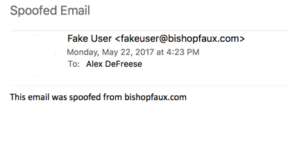 A screenshot of a spoofed email.